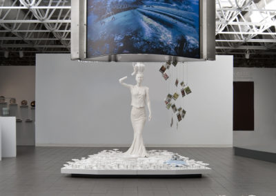 Garden (2010) - 132(h) x 96(w) x 168(d) - earthenware with china paint decals wood, stainless steel, backlit photograph