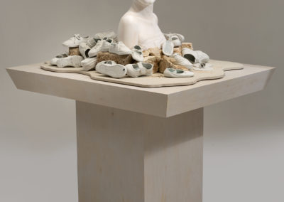Twenty Twelve (2012) - 58(h) x 46(w) x 38(d) - glazed and painted earthenware, glazed porcelain, concrete, sand, wood