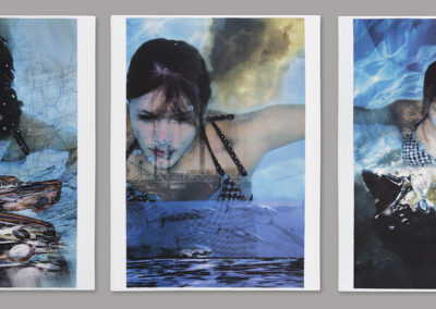 Mercury Triptych (2016) - 15 7/8(h) x 37 1/2(w) x 1/2(d) - glazed porcelain with china paint photo montage