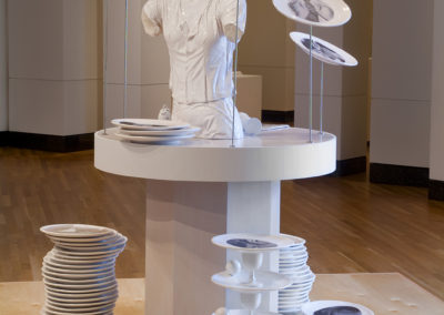 Balance (2009) - 75(h) x 56(w) x 54(d) - earthenware with china paint decals, wood, stainless steel