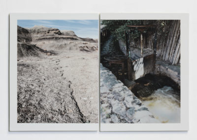 Sluice; Water: CodeBlue Tile Series (2017) - (full view diptych) - 16(h) x 24 1/4(w) x 1/2(d) - Photographic china paint, decal on porcelain tile