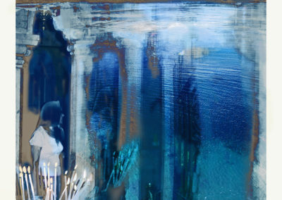 "Waterscape Reflection; Water CodeBlue Series (2016) - 42"" (h) x 34 3/8""(w) - archival ink jet print on fine art paper"