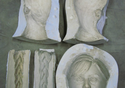 Plaster mold of head and face
